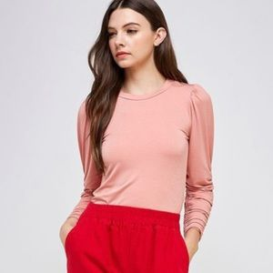 Ruched Sleeve Top Pink NWT